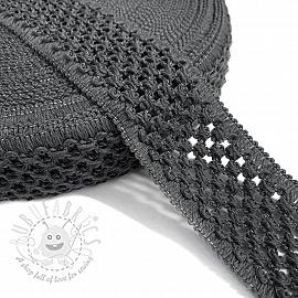 Elastic cotton binding 5 cm dark grey