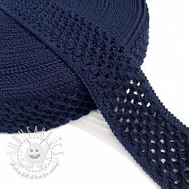 Elastic cotton binding 5 cm marine