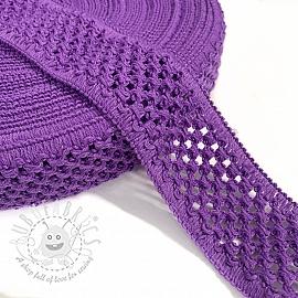 Elastic cotton binding 5 cm purple