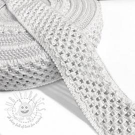 Elastic cotton binding 5 cm white