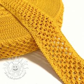 Elastic cotton binding 5 cm yellow