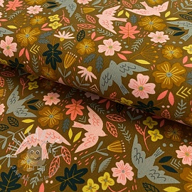 Fine corduroy Flowers and birds mustard