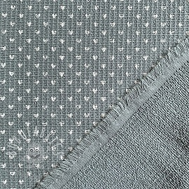 Frotte waffle pique Hearts light grey white