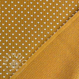 Frotte waffle pique Hearts ochre white