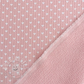 Frotte waffle pique Hearts rose white