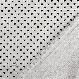 Frotte waffle pique Hearts white black