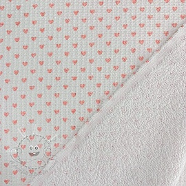 Frotte waffle pique Hearts white rose