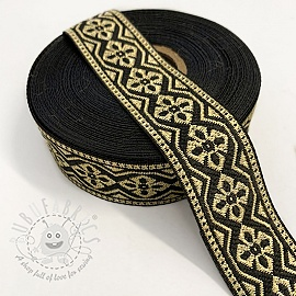 Jacquard Gold flower black