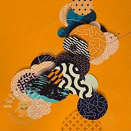 Jersey Abstract geo yellow panel digital print