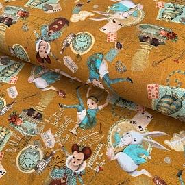 Jersey Alice in wonderland ochre digital print