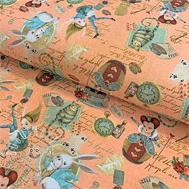 Jersey Alice in wonderland soft peach digital print