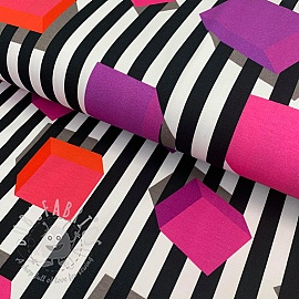 Jersey Blocks and stripes black/pink digital print