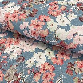 Jersey GOTS Blossom light blue digital print