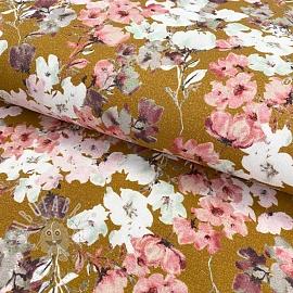 Jersey GOTS Blossom ochre digital print