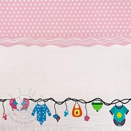 Jersey Childhood light pink border digital print