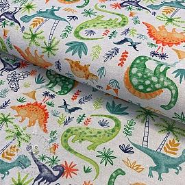 Jersey Dino adventures melange light grey digital print
