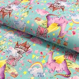 Jersey Fairy dragon in a castle light blue digital print