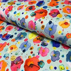 Jersey Festive flowers mint digital print