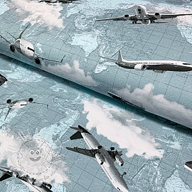 Jersey Fly away ice blue digital print