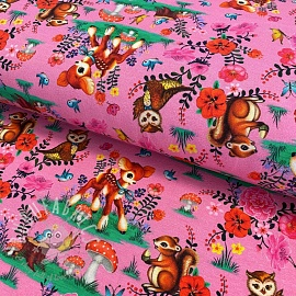 Jersey Bambi and friends pink digital print