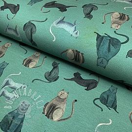 Jersey GOTS Cats green digital print