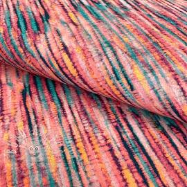Jersey GOTS Colourful batik rose digital print