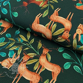 Jersey Deer dark green digital print