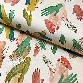 Jersey GOTS Hands cream digital print