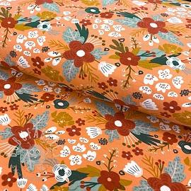 Jersey GOTS Kimi flowers salmon
