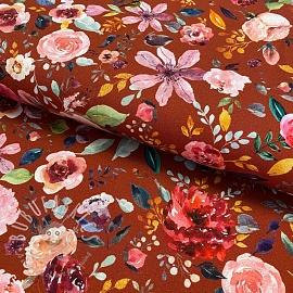Jersey GOTS Painted flowers henna digital print 2nd class