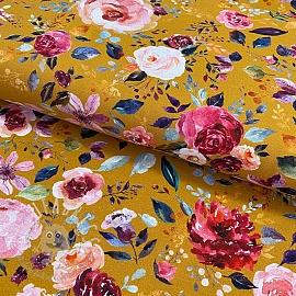 Jersey Painted flowers ochre digital print