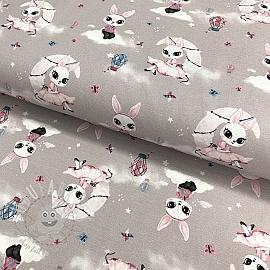 Jersey GOTS Rabbit on the moon light grey digital print