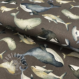 Jersey GOTS Sea creatures taupe digital print