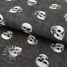 Jersey GOTS Skull rock grey digital print