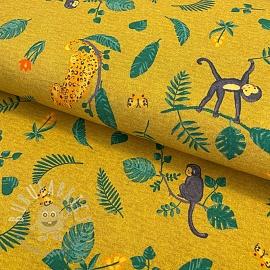 Jersey Swinging monkeys ochre digital print