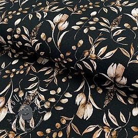 Jersey GOTS Vintage leaves black digital print