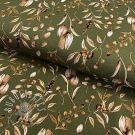 Jersey GOTS Vintage leaves forest green digital print