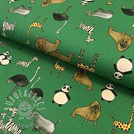 Jersey GOTS ZOO animals green digital print