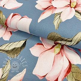 Jersey GOTS Huge flowers light blue digital print