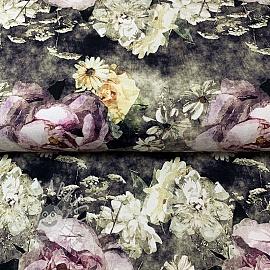 Jersey MIX Connie flowers violet digital print
