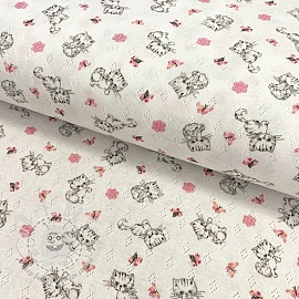 Jersey pointoille Sweet cat white