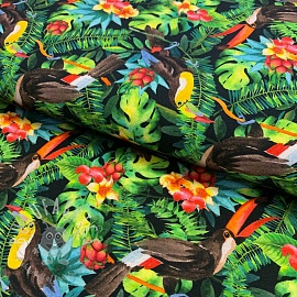 Jersey Tropical black digital print