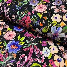 Jersey viscose Flower field black