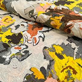 Jersey viscose Flower garden yellow