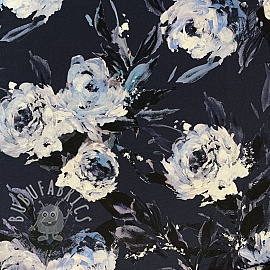 Jersey viscose Night flowers black