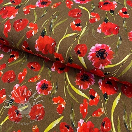 Jersey viscose Poppy field taupe