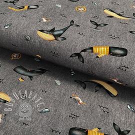 Jersey Whale rock grey digital print