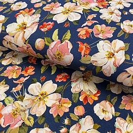 Jersey Wild rose flower dark jeans digital print