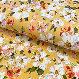 Jersey Wild rose flower ochre digital print