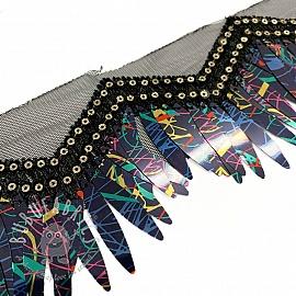 Lace tulle Burlesque zigzag multicolour